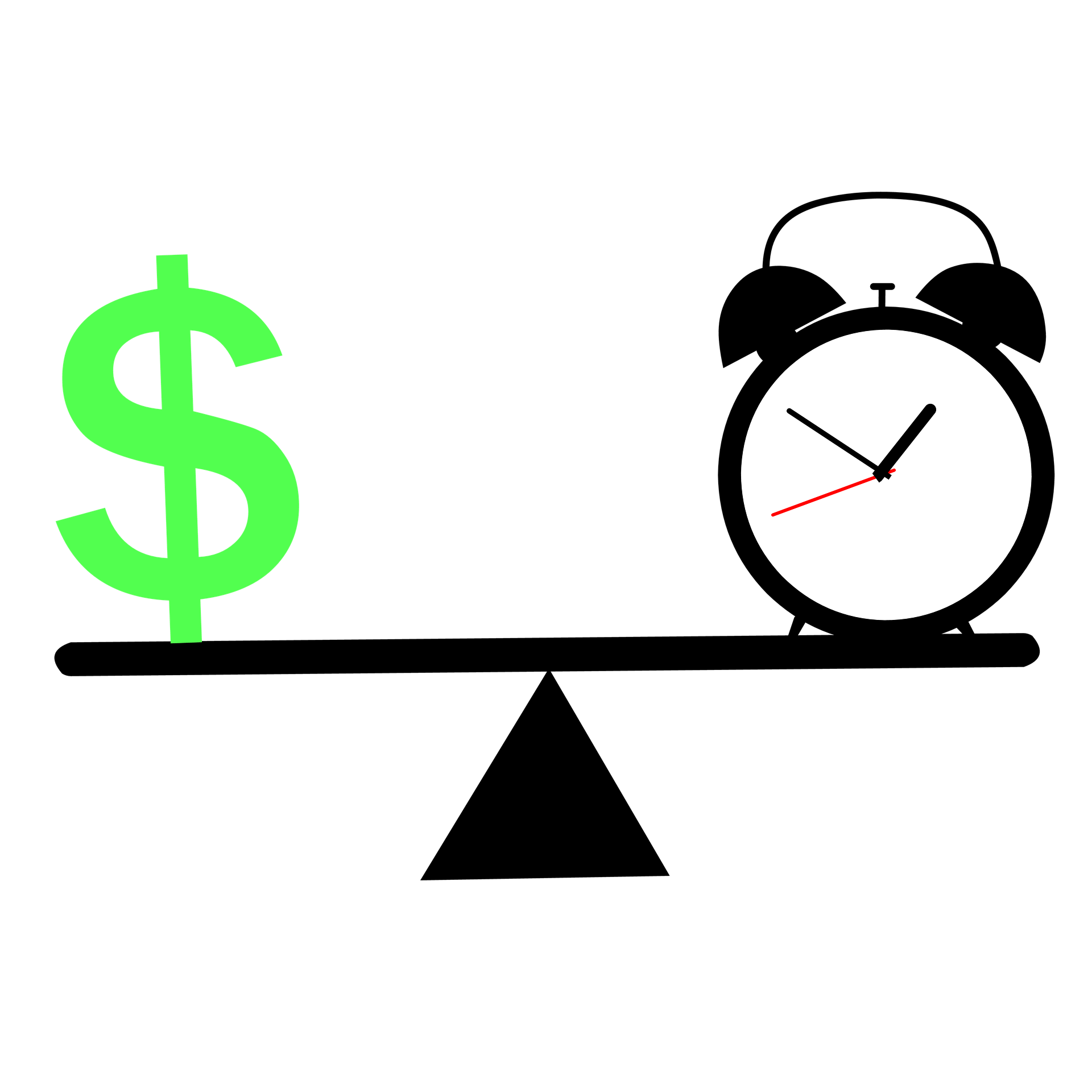 time and money on weighted scale