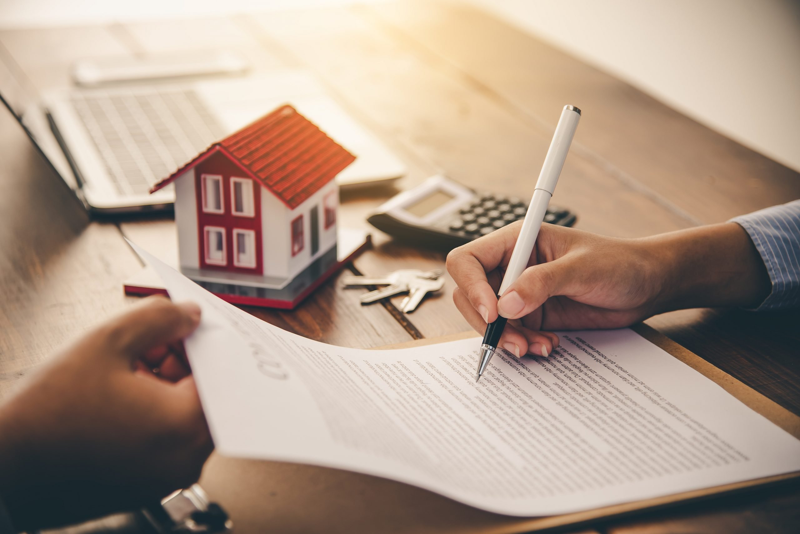 House Signers Signing Signature Loan Document To Home Ownership